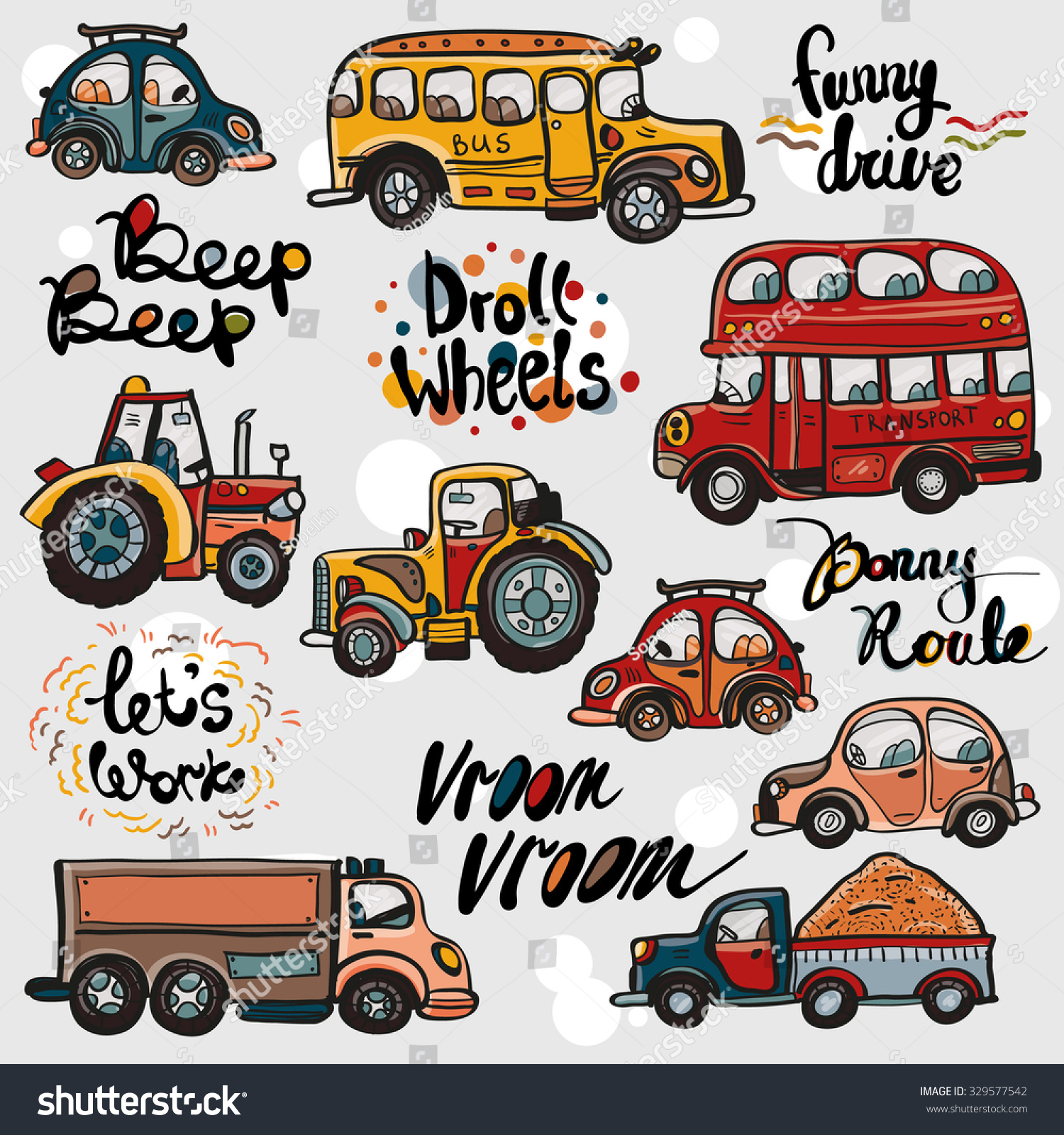 Funny Cute Hand Drawn Kids Toy Transport And Slogans. Baby