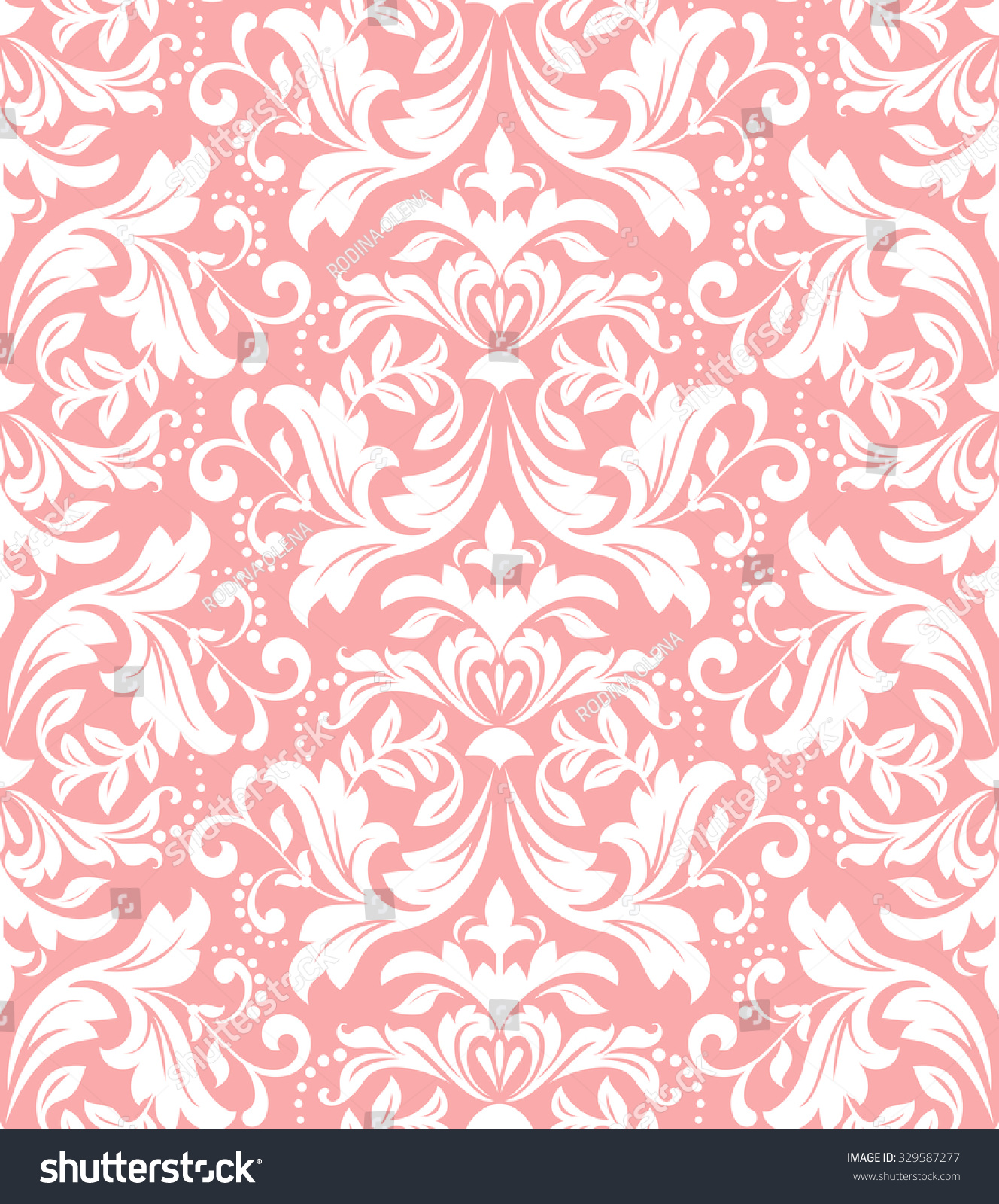 Floral pattern. Wallpaper baroque, damask. Seamless vector background. Pink and white ornament