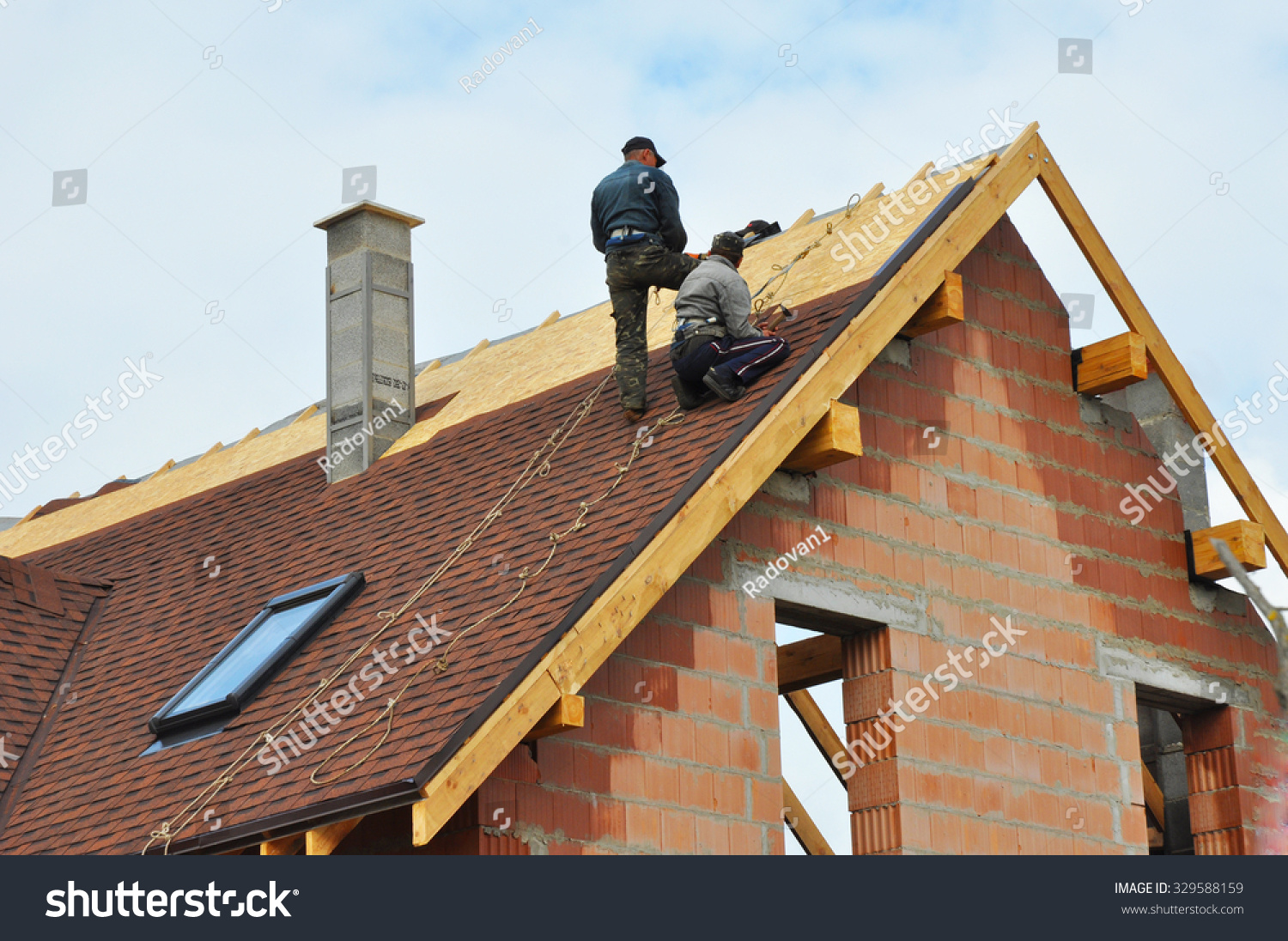 Roofing construction building new brick house stock photo for House roof construction