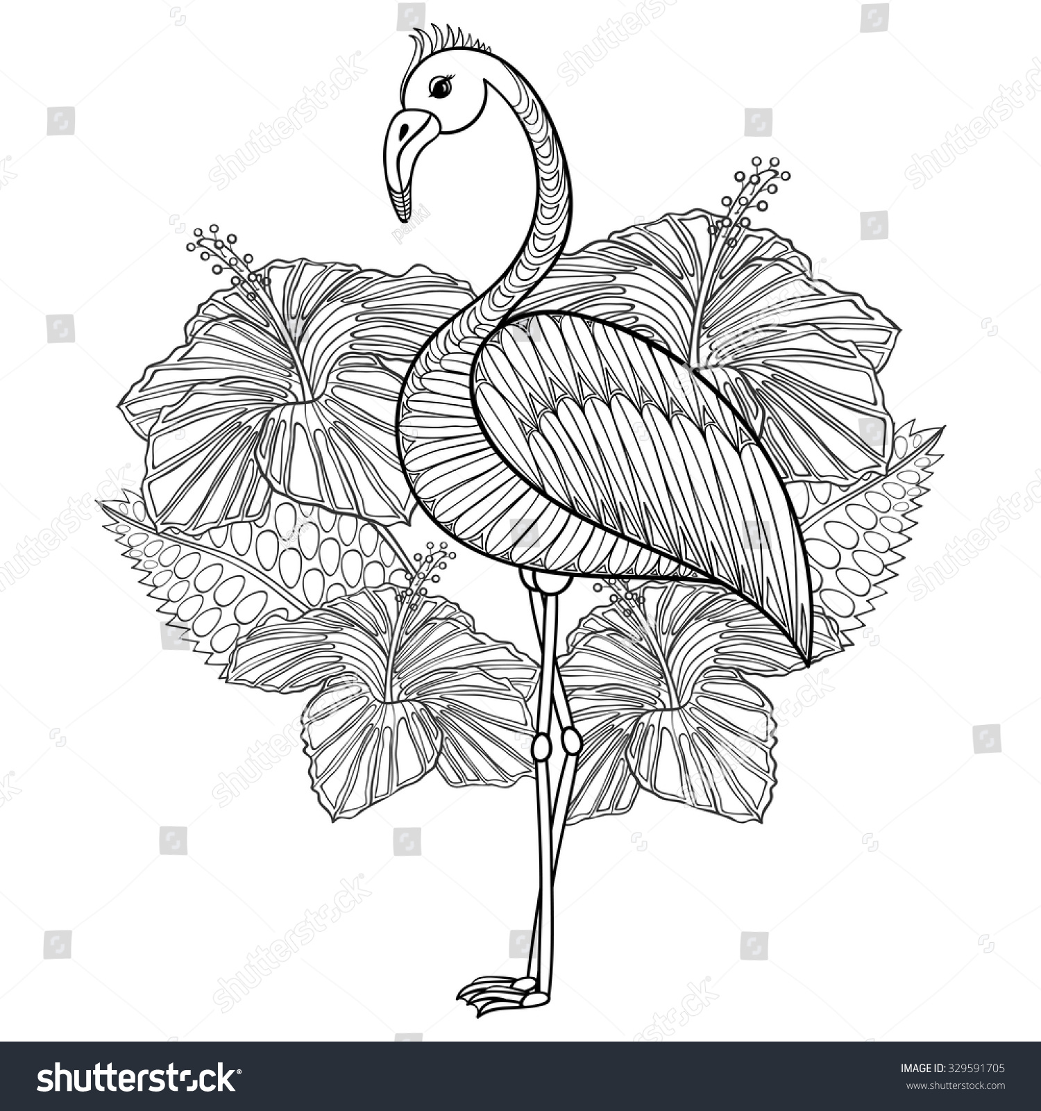 Coloring sheets for adults flamingo - Flamingo In Hibiskus Coloring Page Zentangle Illustartion For Adult Coloring Books Or Tattoos With High