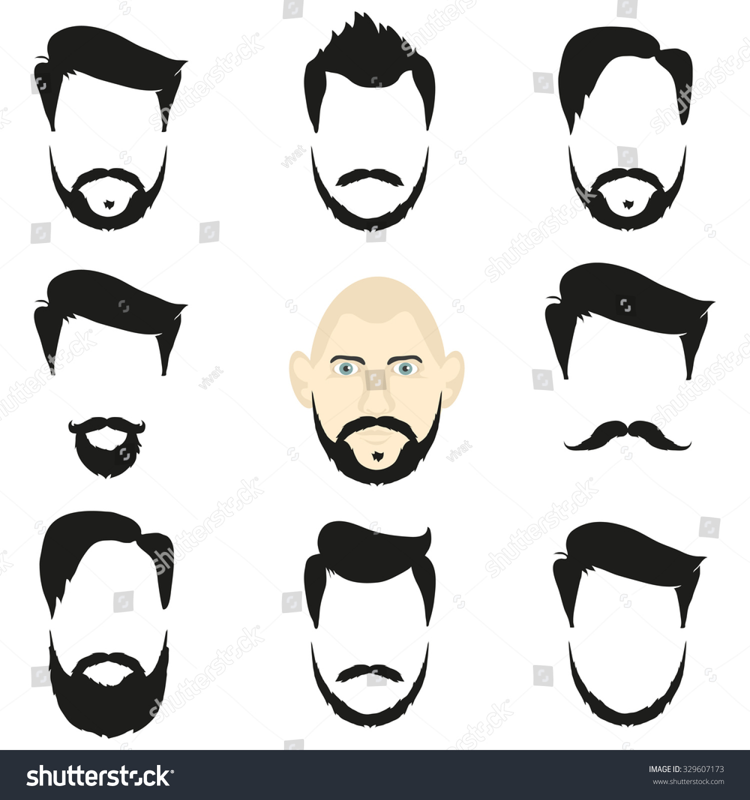 Superb Face Blank Templates Hairstyles Beards Hipster Stock Illustration Short Hairstyles For Black Women Fulllsitofus