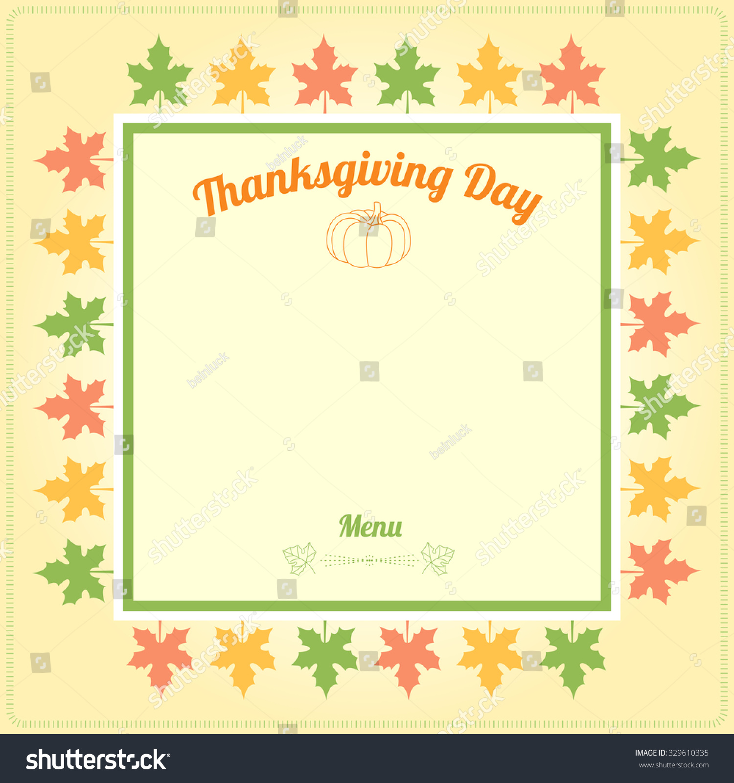 Thanksgiving Day Menu Template Vector Stock Vector 329610335
