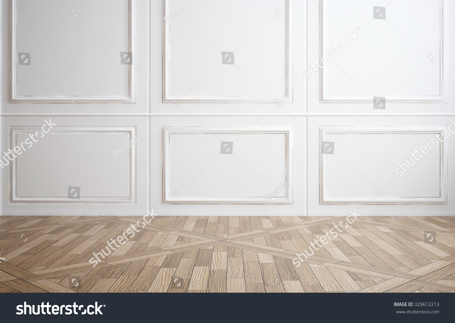 White Wood Paneling For Walls : Empty room classic white wood paneling stock illustration