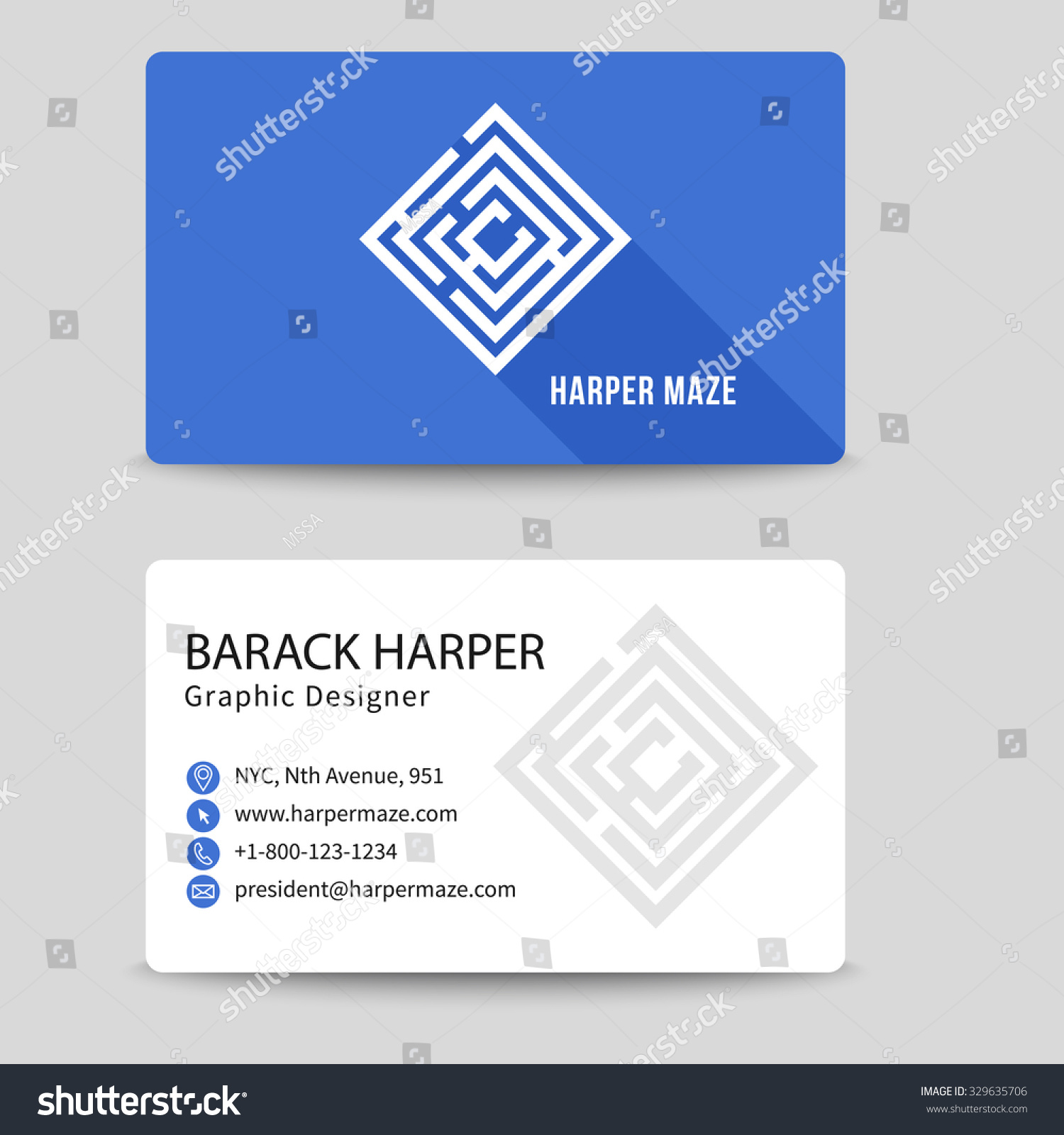 Corporate Vector Business Card Labyrinth Symbol Stock Vector