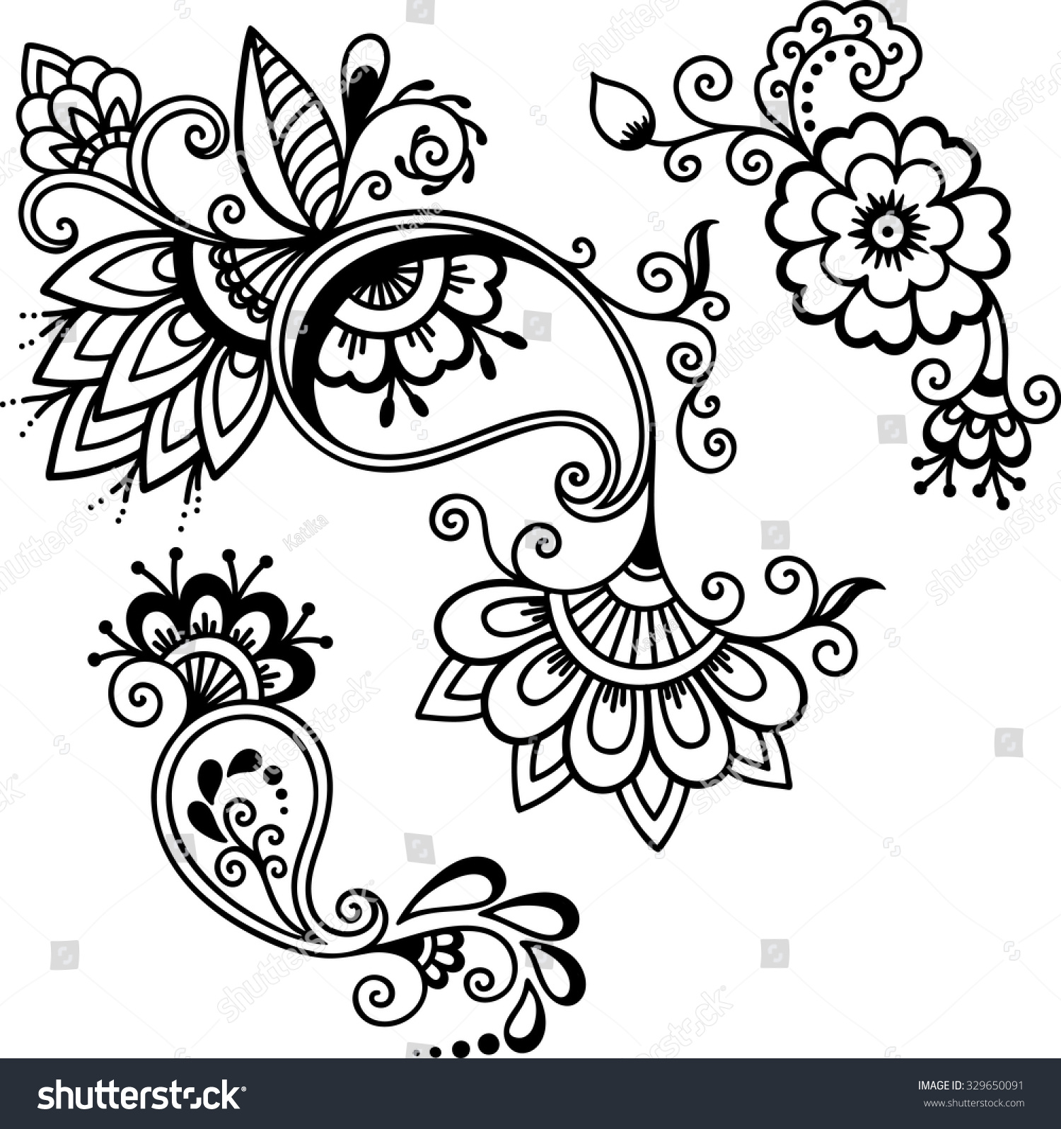Henna Tattoo Vector: Henna Tattoo Flower Template Stock Vector 329650091