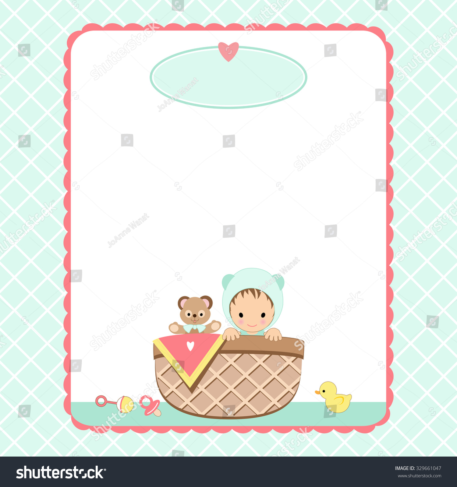 Baby Shower Invitation Background Baby Basket Stock Vector ...