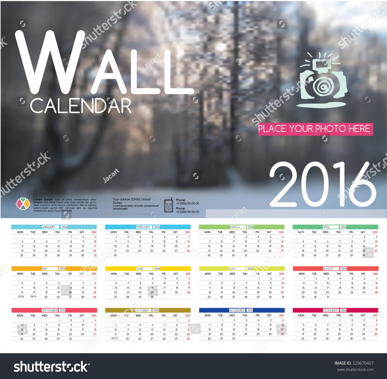 Hotel Calendar Design : Forest winter design wall calendar stock vector