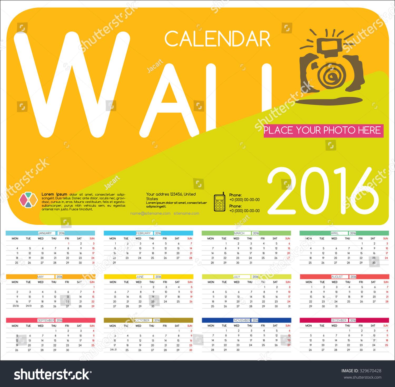 Hotel Calendar Design : Design wall calendar vector templates stock