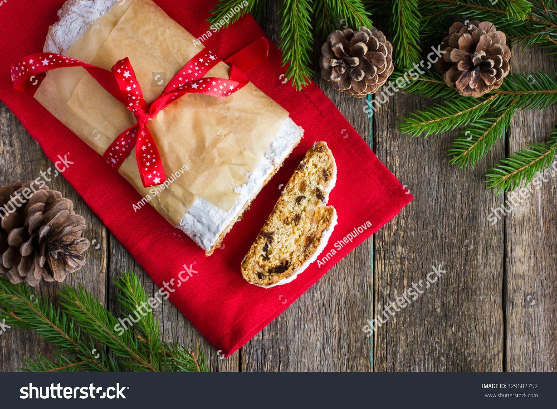 Christmas Stollen Traditional German Christmas Cake Stock Photo ...