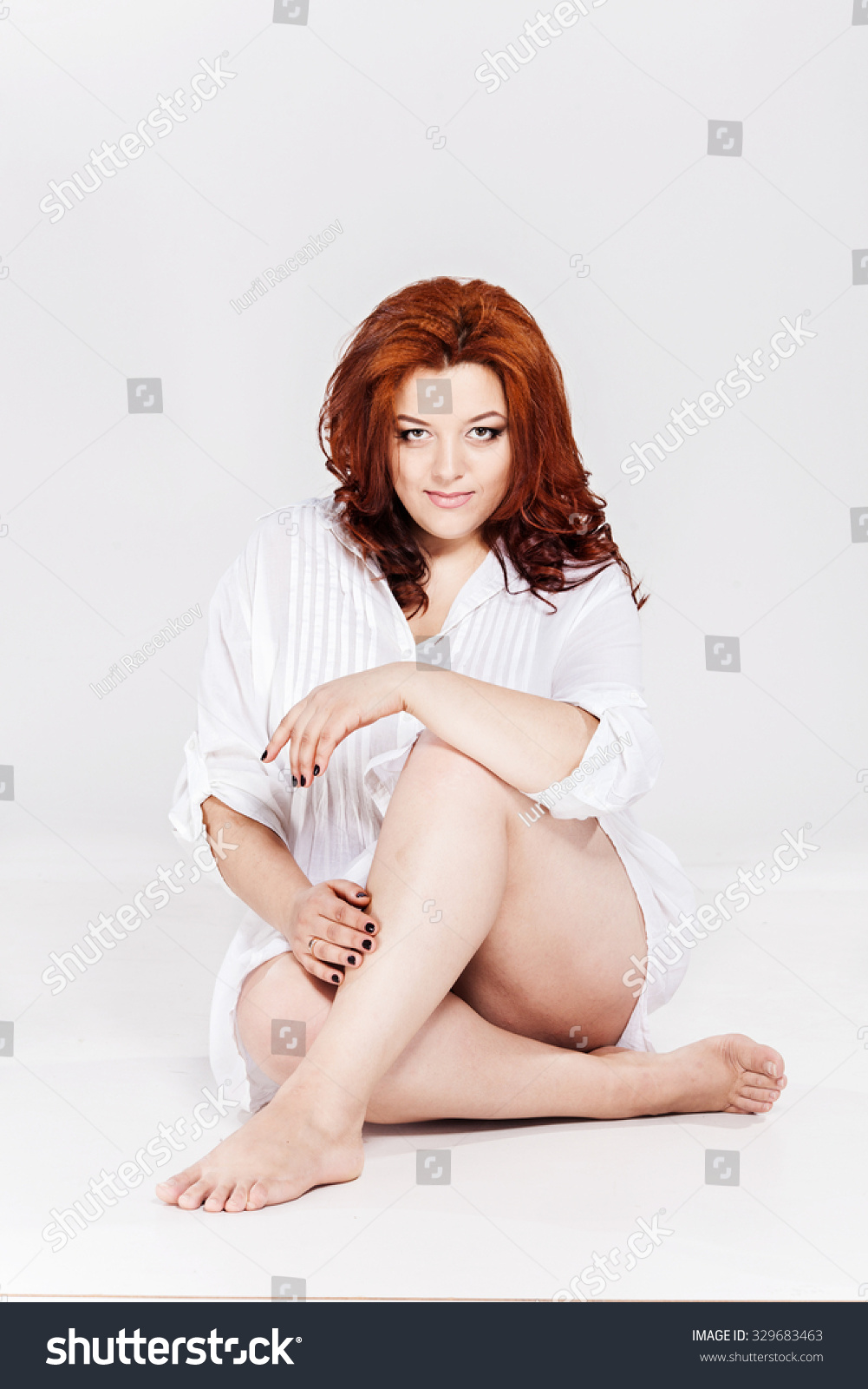 Beautiful Fat Model Studio Portrait Plussize Stock Photo 329683463 ...