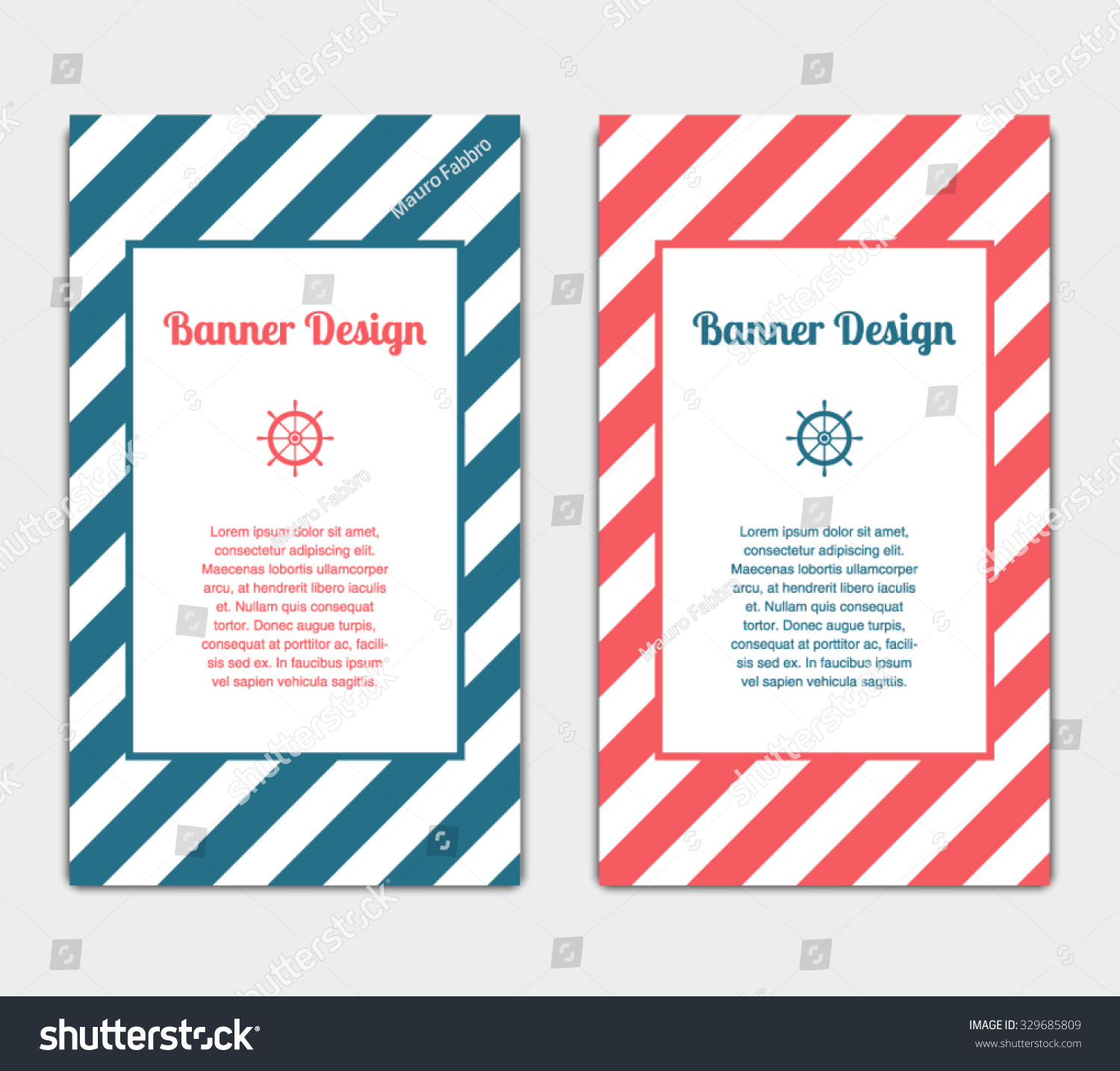 Set vector banners template nautical marine stock vector 329685809 set of vector banners template with nautical marine style design invitation card celebration pronofoot35fo Images