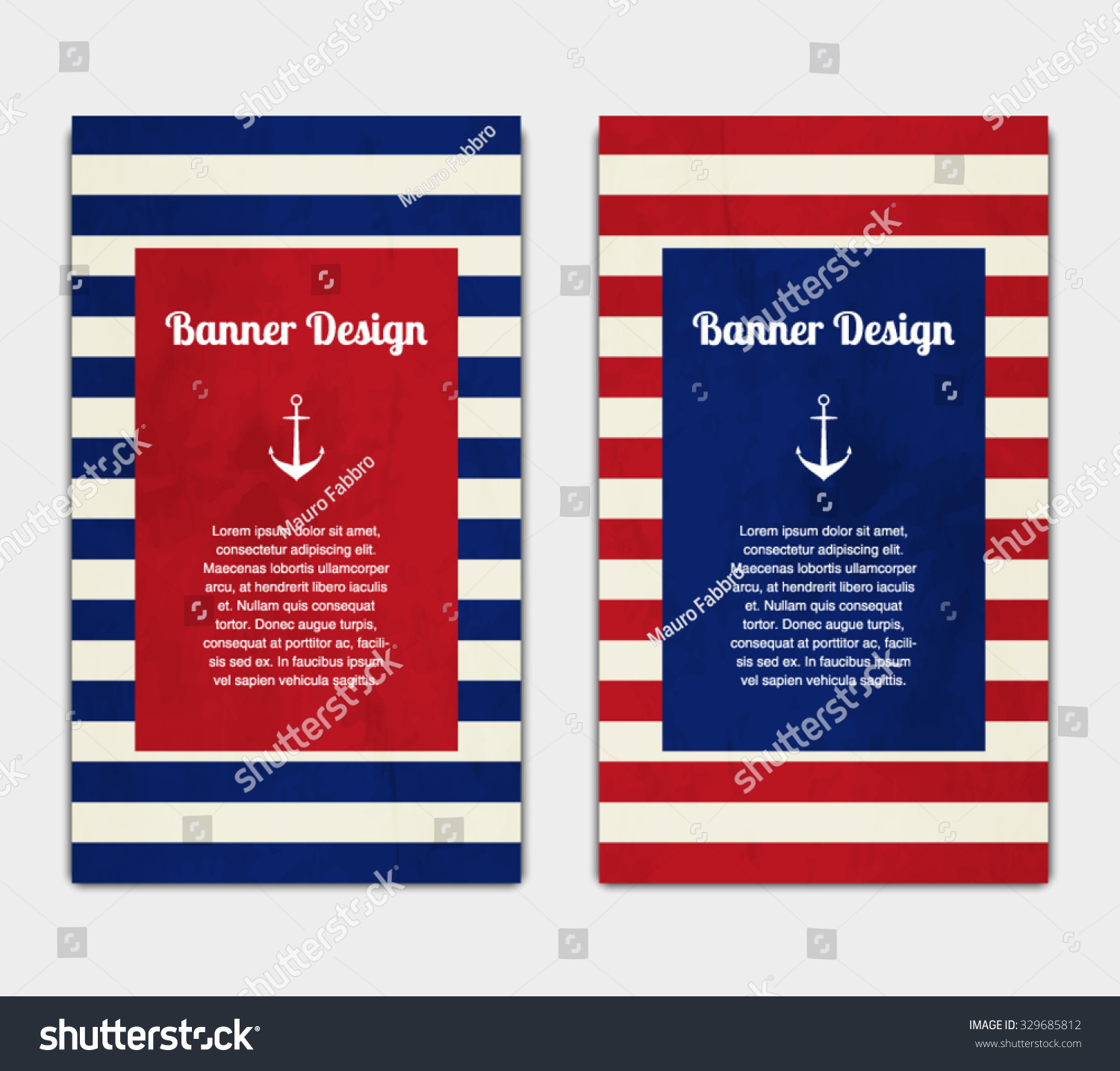 Set vector banners template nautical marine stock vector 329685812 set of vector banners template with nautical marine style design invitation card celebration pronofoot35fo Images