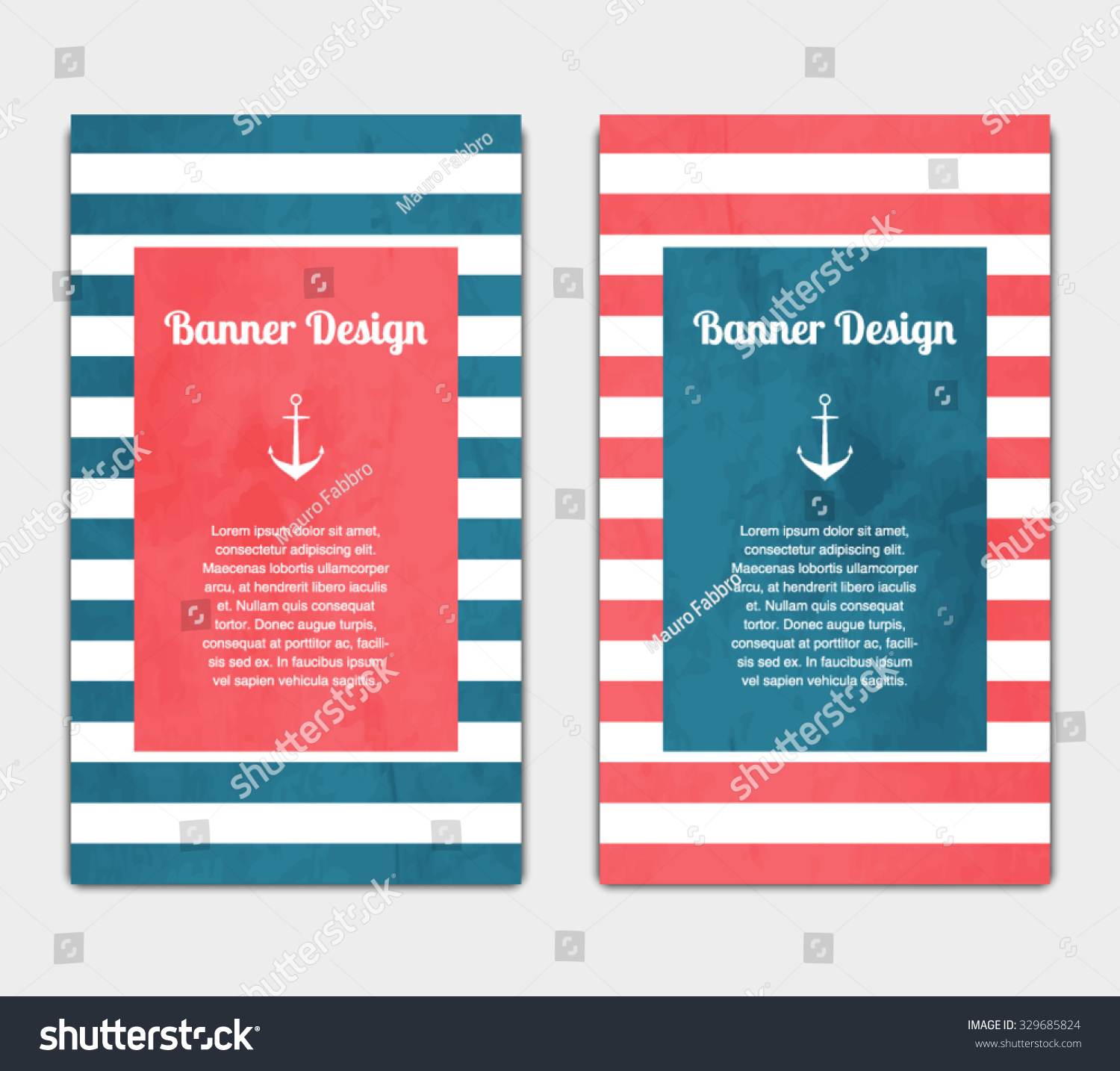Set vector banners template nautical marine stock vector 329685824 set of vector banners template with nautical marine style design invitation card celebration pronofoot35fo Images