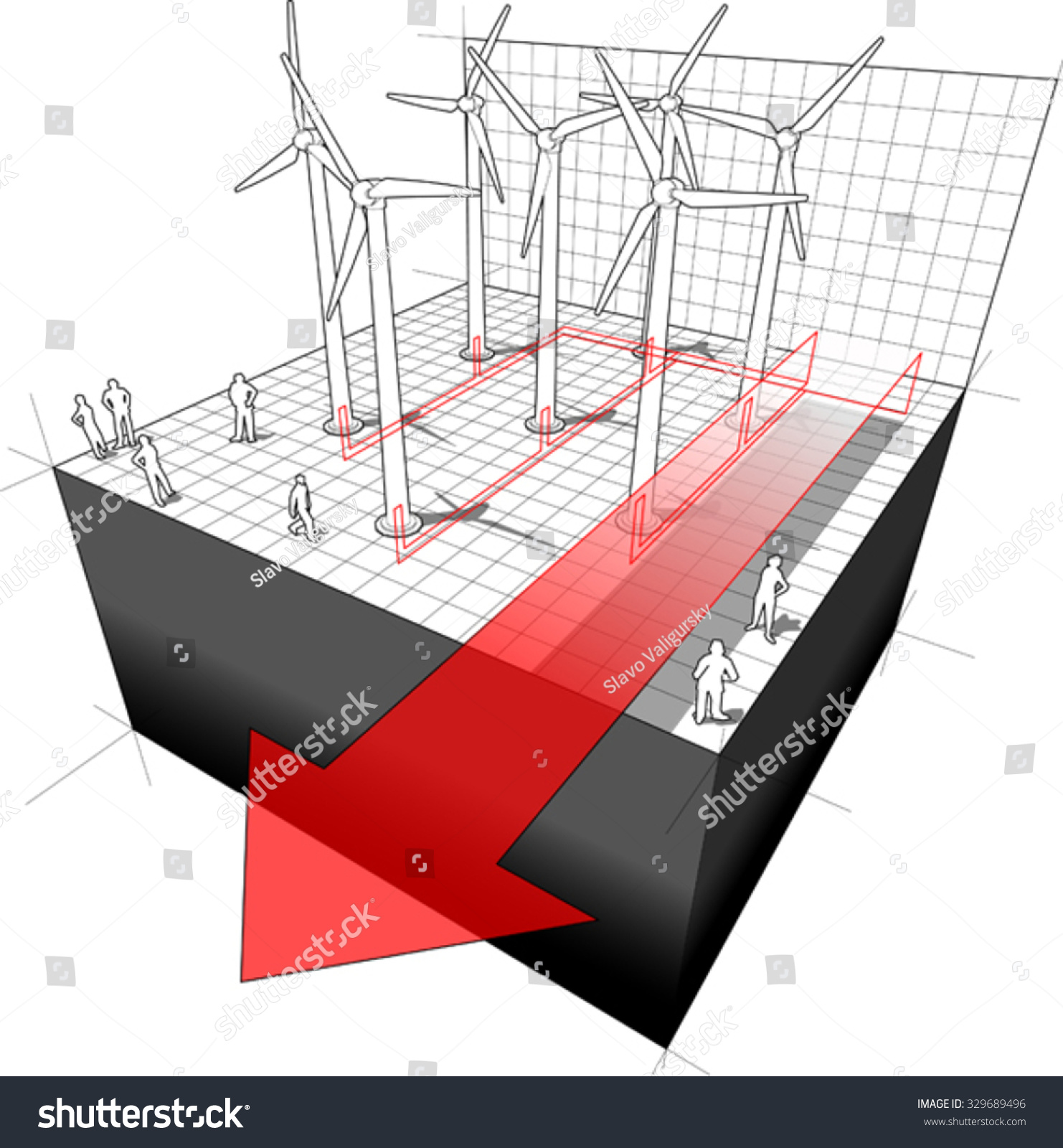 Diagram Wind Turbines Farm Electro Wires Stock Vector Royalty Free Power Wiring Of A With And Arrow