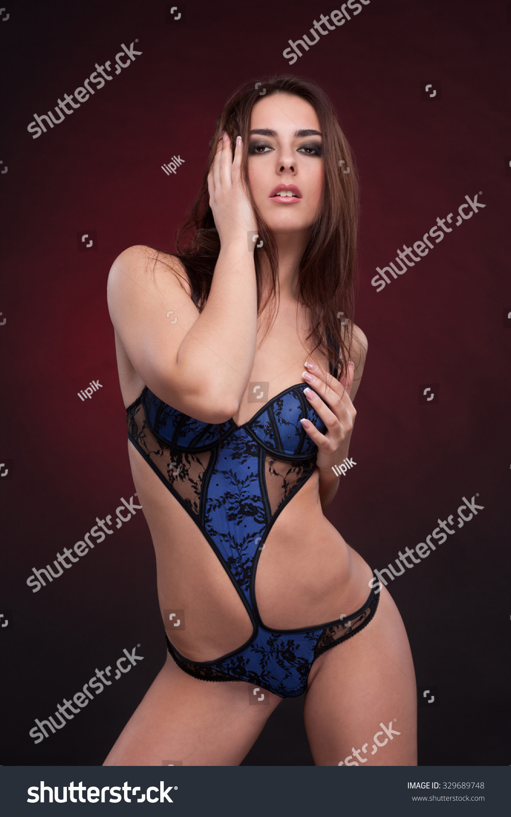 professional sexy nude woman lingerie isolated stock photo (royalty