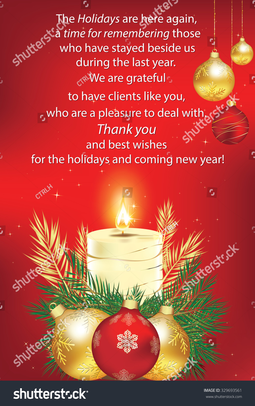 Thank You Red Business Greeting Card Stock Vector 329693561