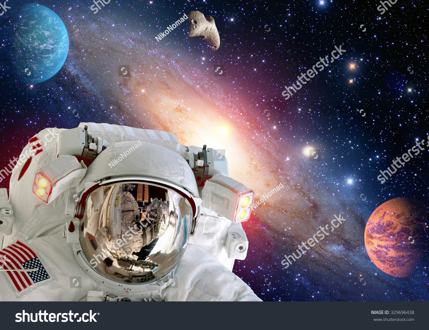 Astronaut spaceman helmet outer space suit stock photo for Outer space elements