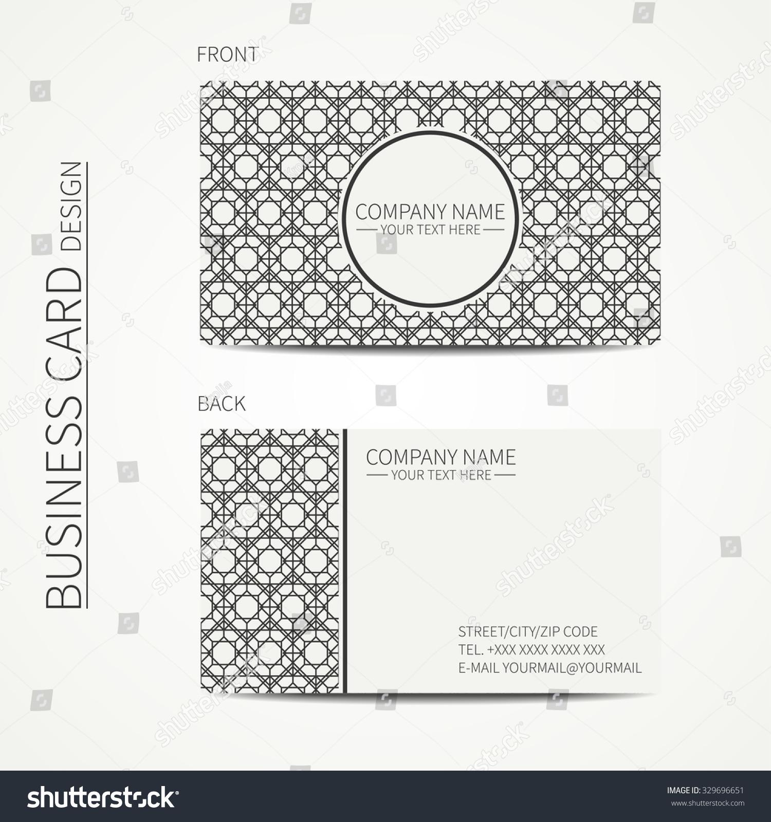 Geometric Lattice Monochrome Business Card Template Stock Vector