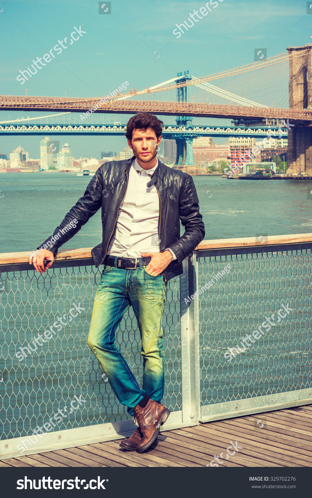 Black t shirt blue jeans - European Man Traveling In New York Wearing Black Leather Jacket White Shirt Blue