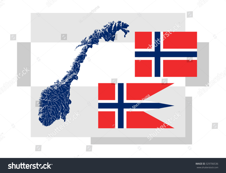 map norway lakes rivers two norwegian stock vector 329706536