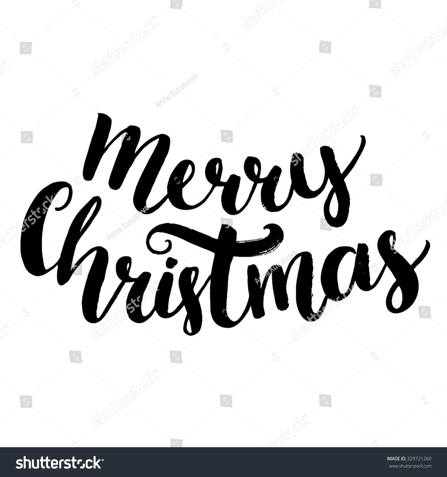 Merry Christmas Text Brush Calligraphy Type Stock Vector (Royalty ...