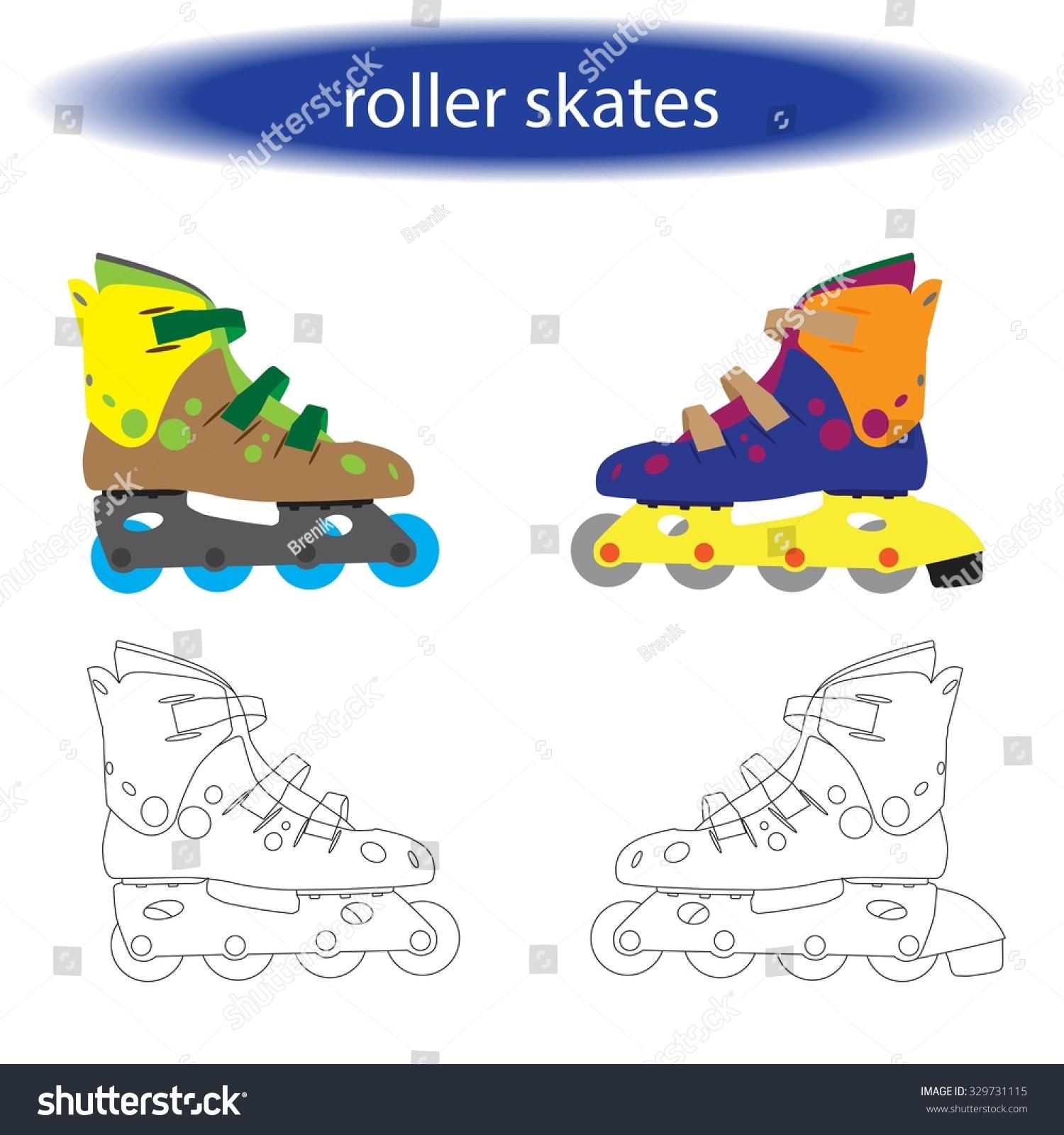 Roller skates book - Coloring Book Roller Skates For Children Vector Illustration