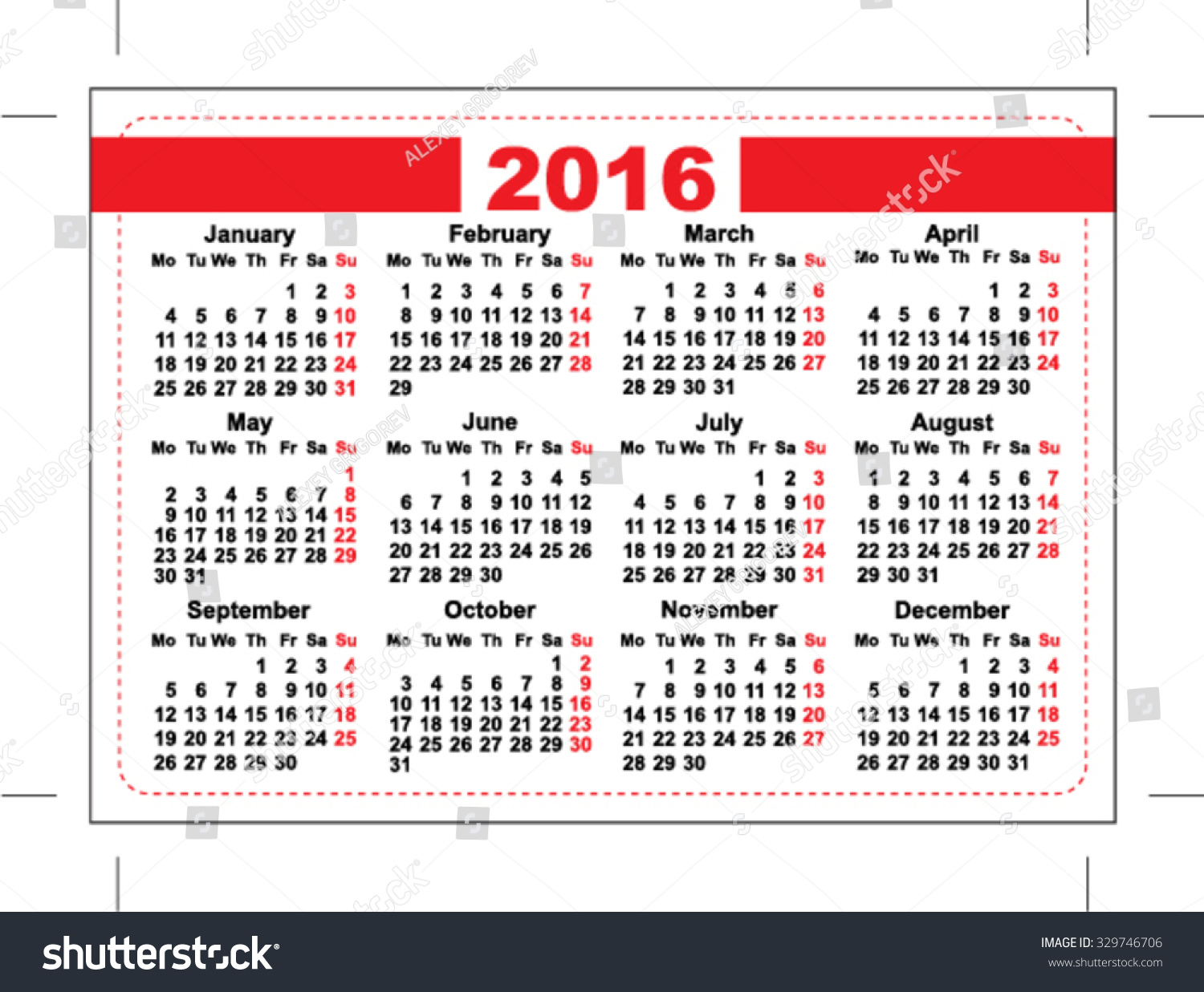 2016 Pocket Calendar Template Grid Horizontal Stock Vector