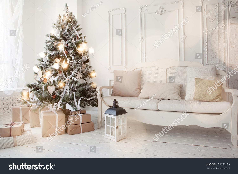Christmas Tree Presents Underneath Living Room Stock Photo (Royalty ...