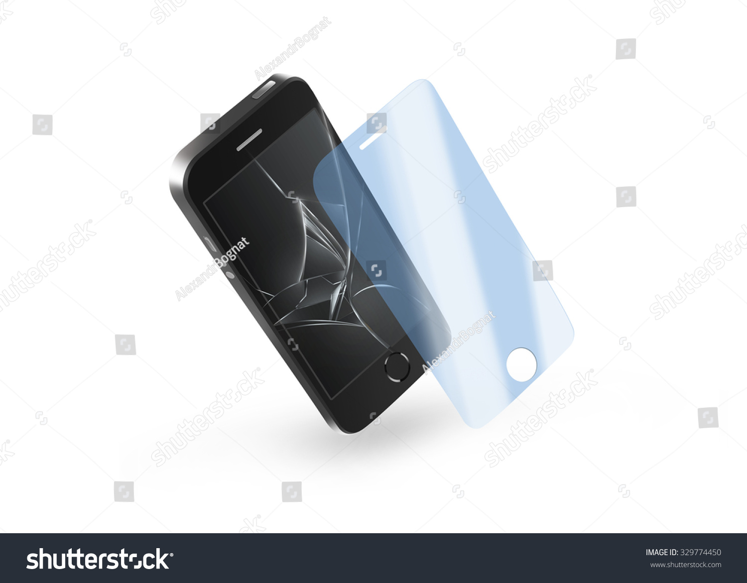 Phone Protection Glass Broken Screen Smartphone Stock ...