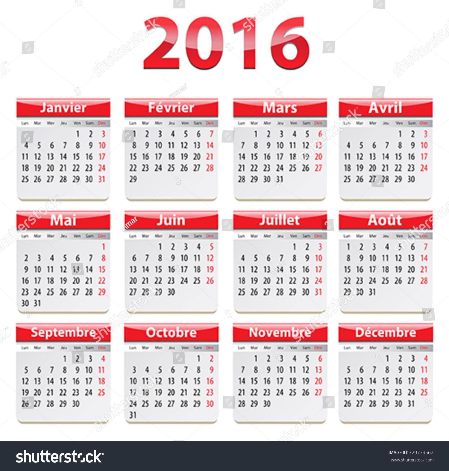 Year Calendar Vector : Calendar year french vector illustration stock