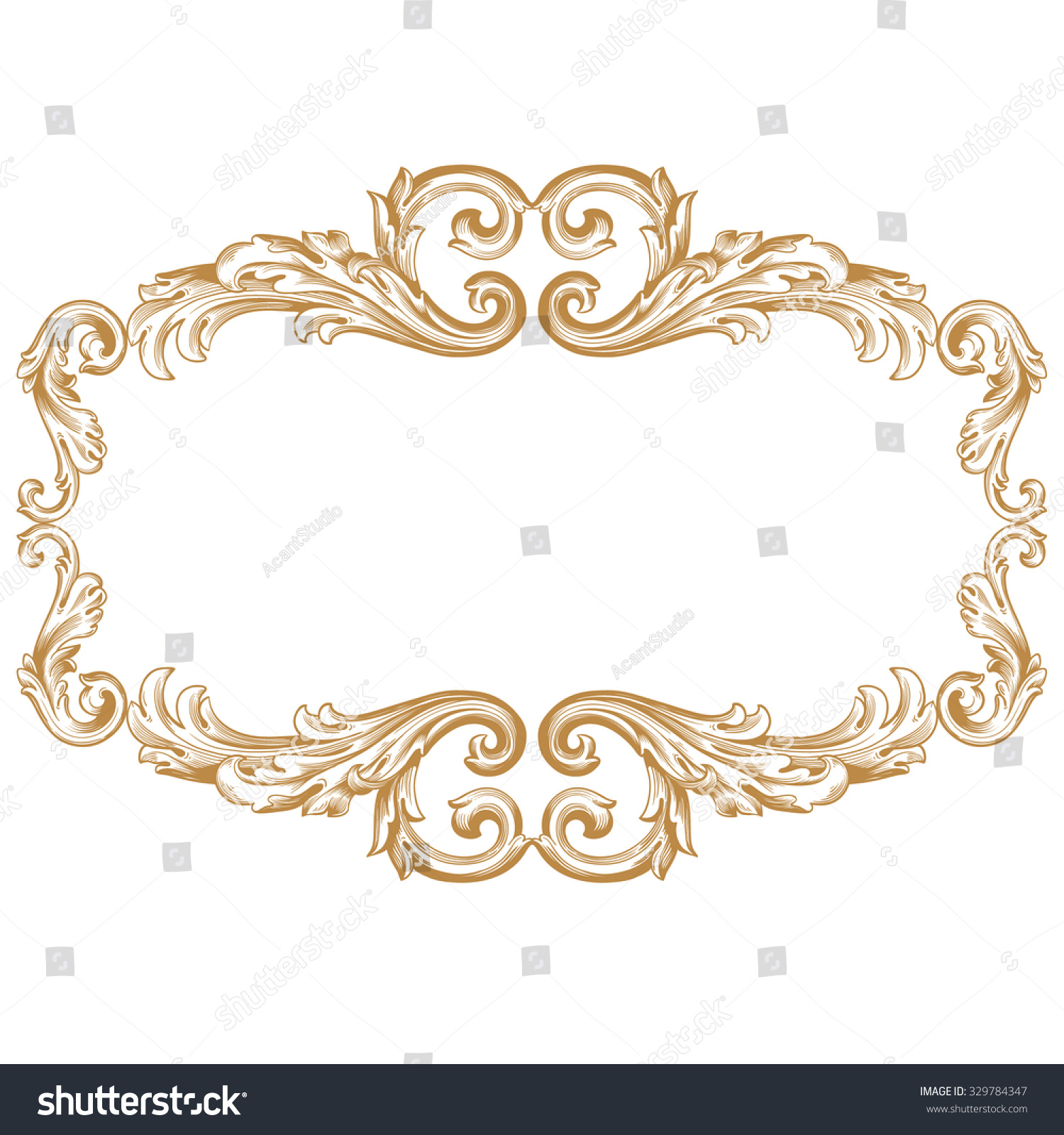 Antique Scrollimgs: Premium Gold Vintage Baroque Frame Scroll Stock Vector