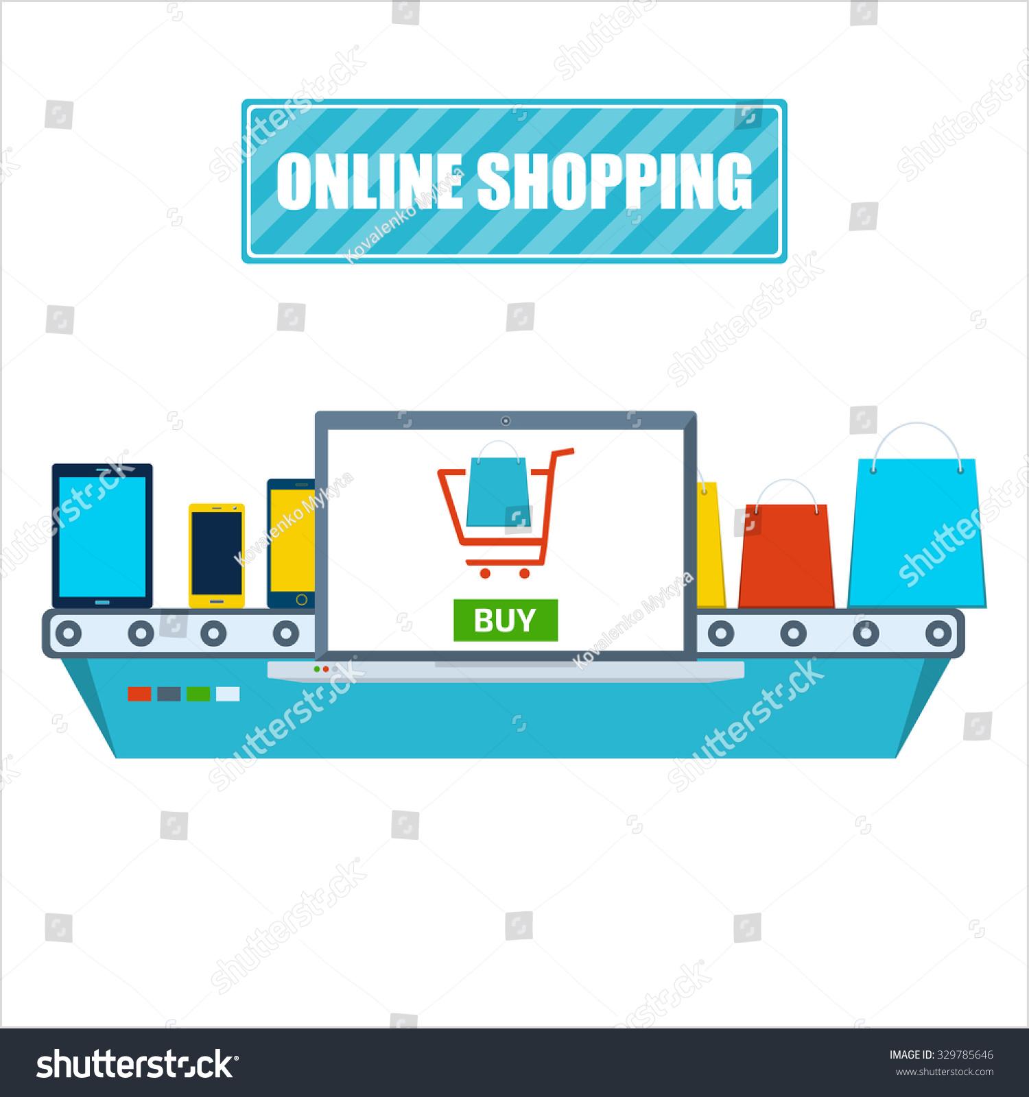 Online Shopping Process Flat Design Vector Stock Vector HD (Royalty ...