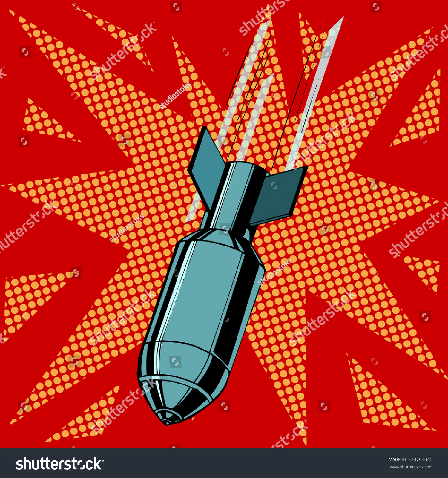 Aviationist bomb explosion War of destruction attack the army pop art retro style