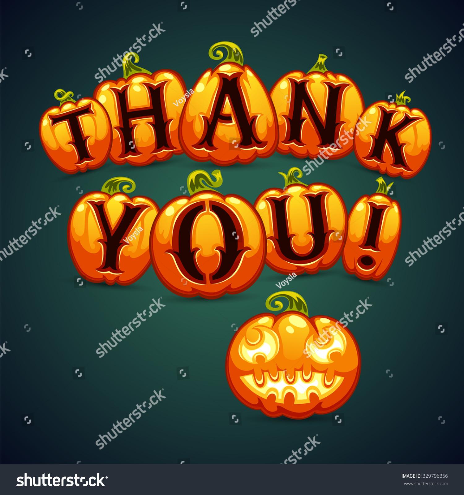 Halloween Pumpkin Says Thank You Greeting Stock Vector 329796356 ...