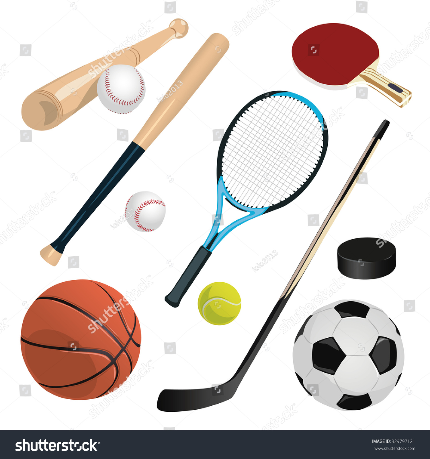 Set Different Sports Equipment Stock Vector (Royalty Free) 329797121 ... bd370cc95