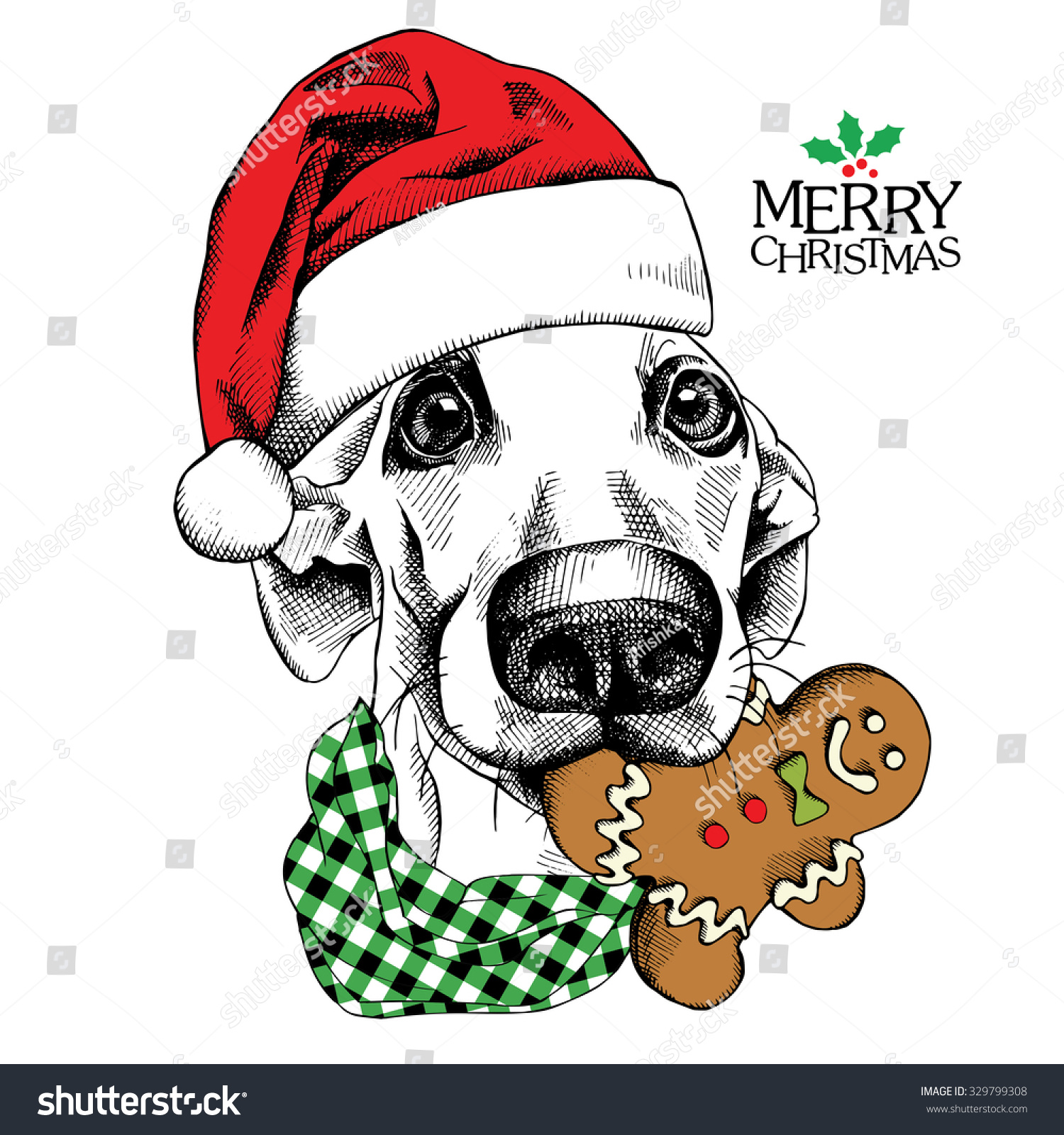 christmas card funny dog portrait in red santas hat and with gingerbread man vector - Funny Dog Christmas Cards