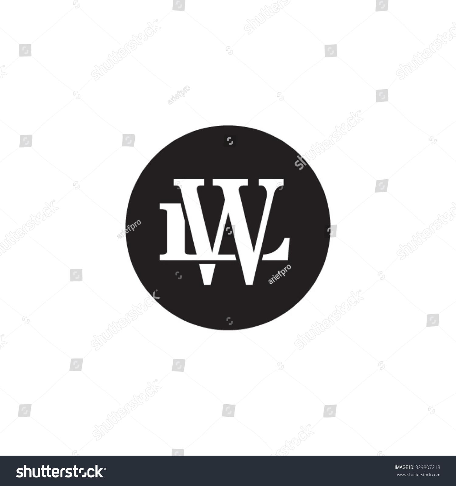 letter l w monogram circle logo stock vector 329807213