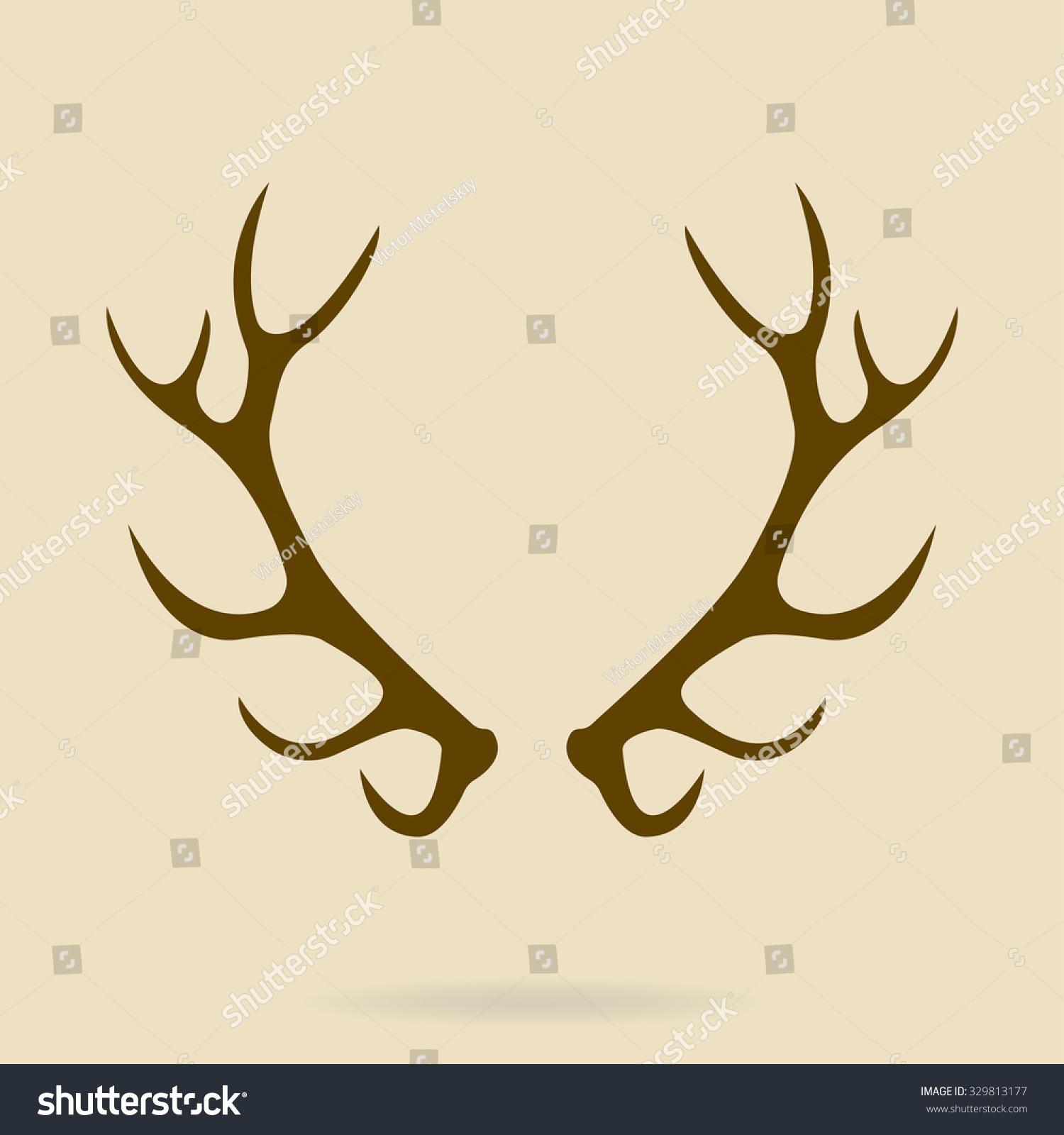 Deer Antlers. Horns Icon. Vector Silhouette. - 329813177 ...