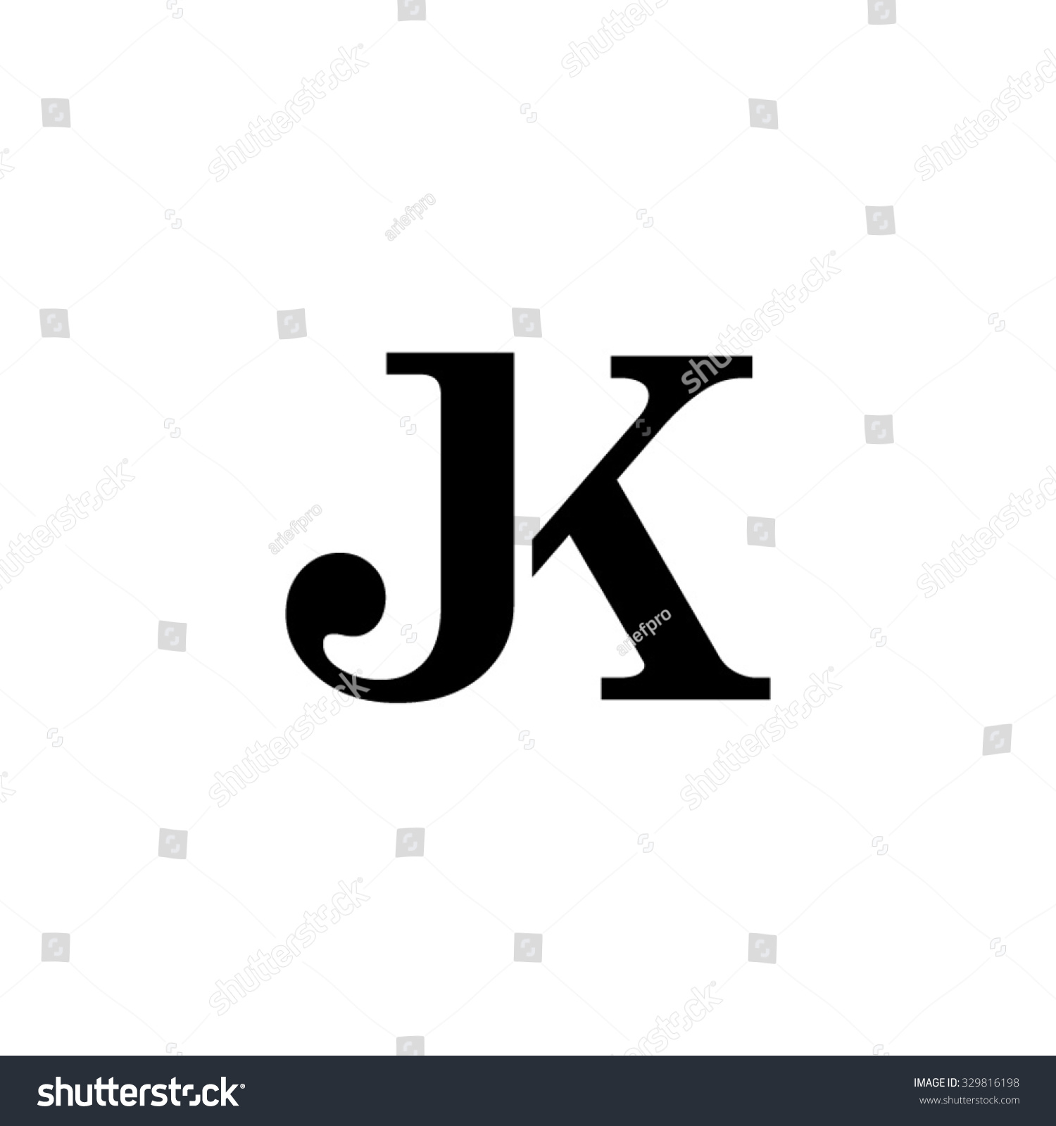 Jk Initial Monogram Logo Stock Vector Illustration