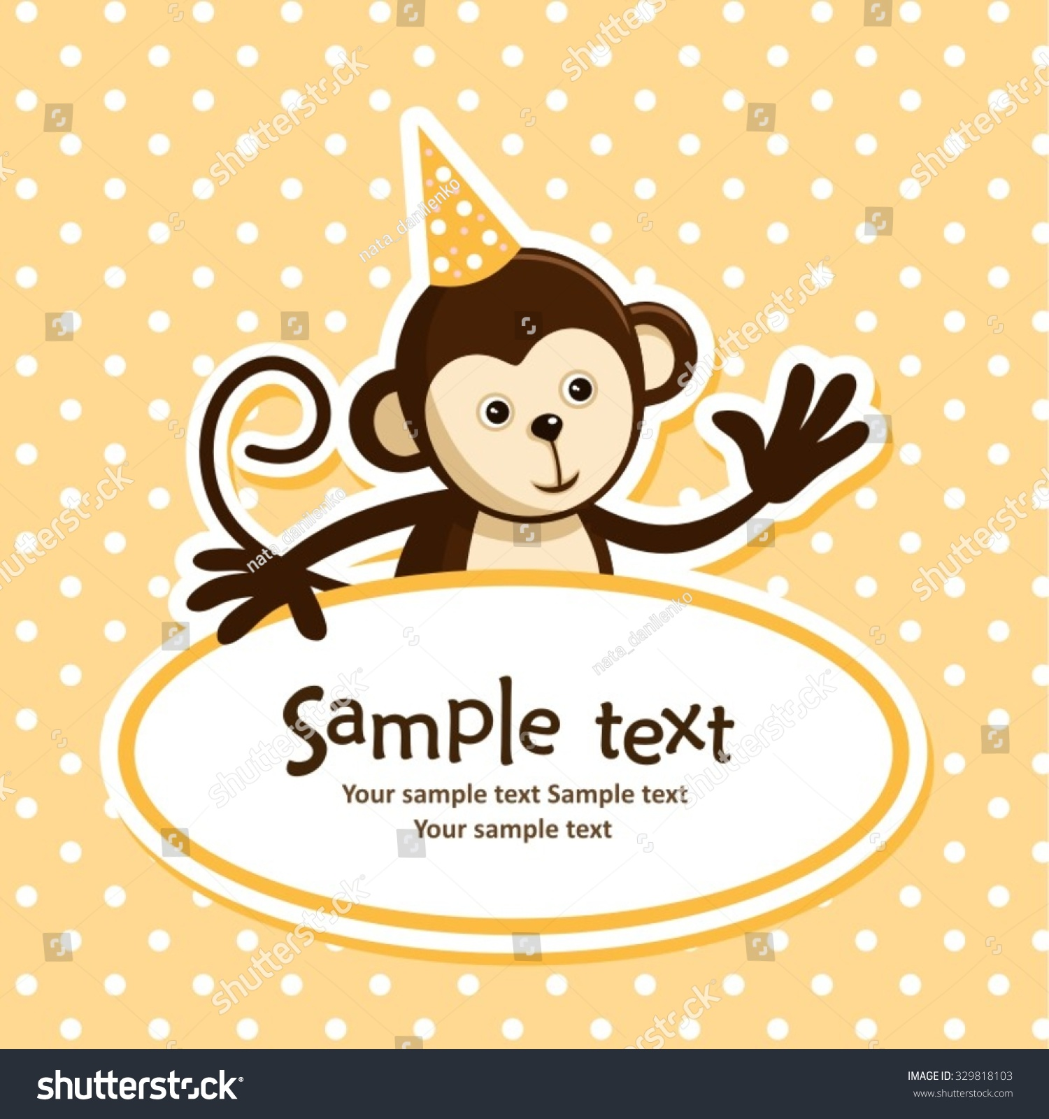Birthday Card Cute Monkey Vector Illustration Vector – Monkey Birthday Card