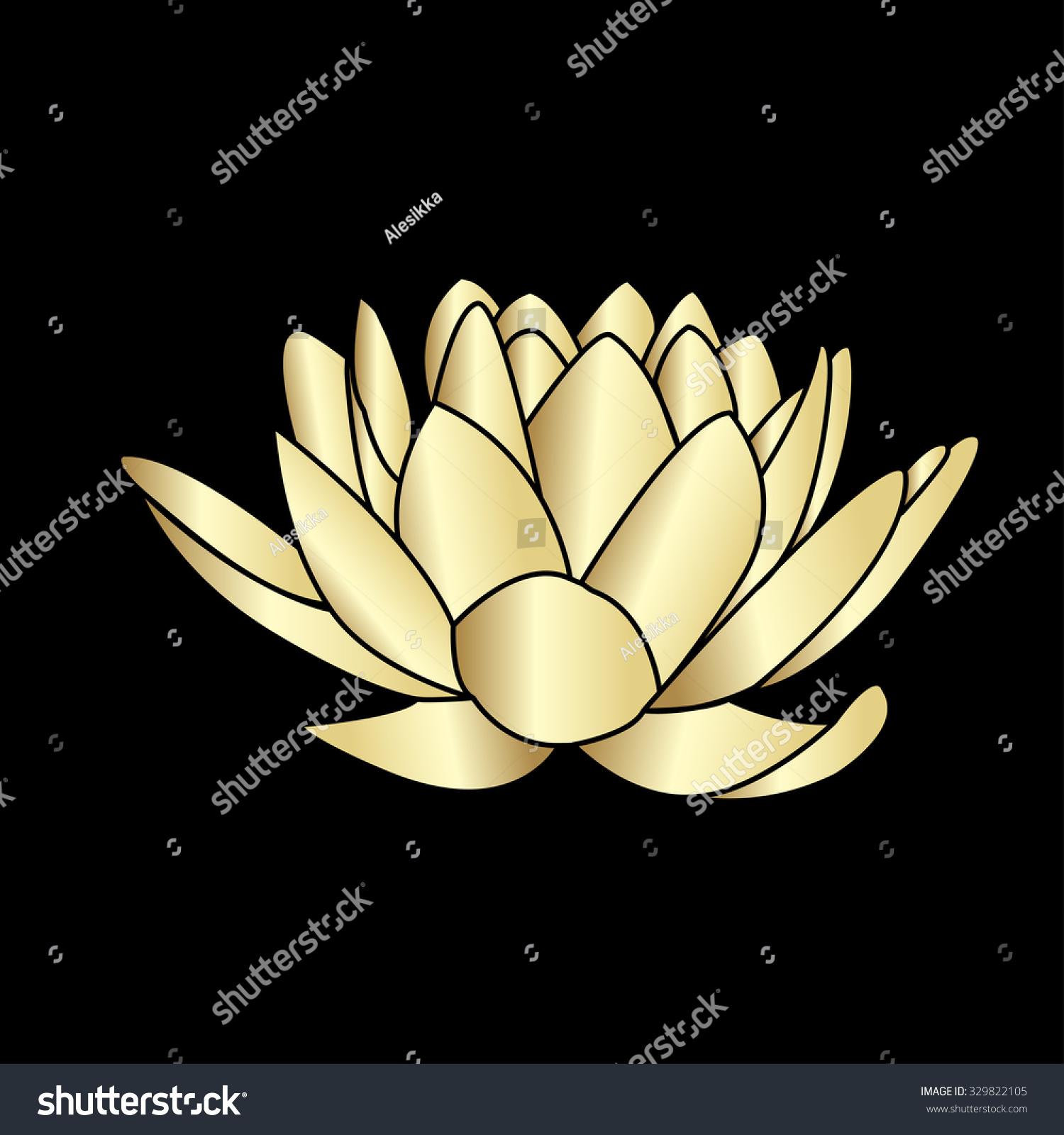 Golden silhouette lotus flowers icon on stock vector 329822105 golden silhouette of lotus flowers icon on a black background izmirmasajfo