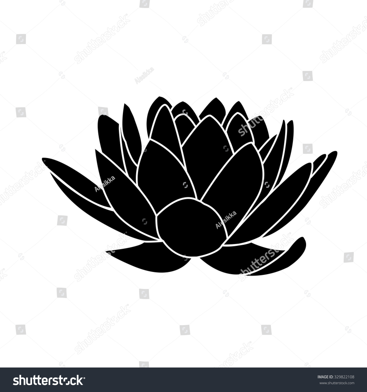 Black Silhouette Lotus Flowers Icon On Stock Vector Royalty Free