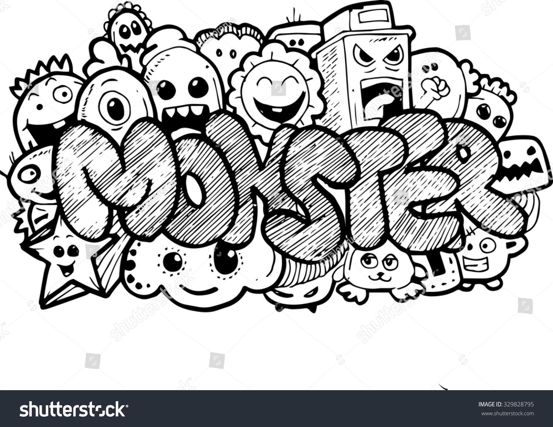 Monster Cartoon Hand Drawn Doodle Stock Photo 329828795 Shutterstock