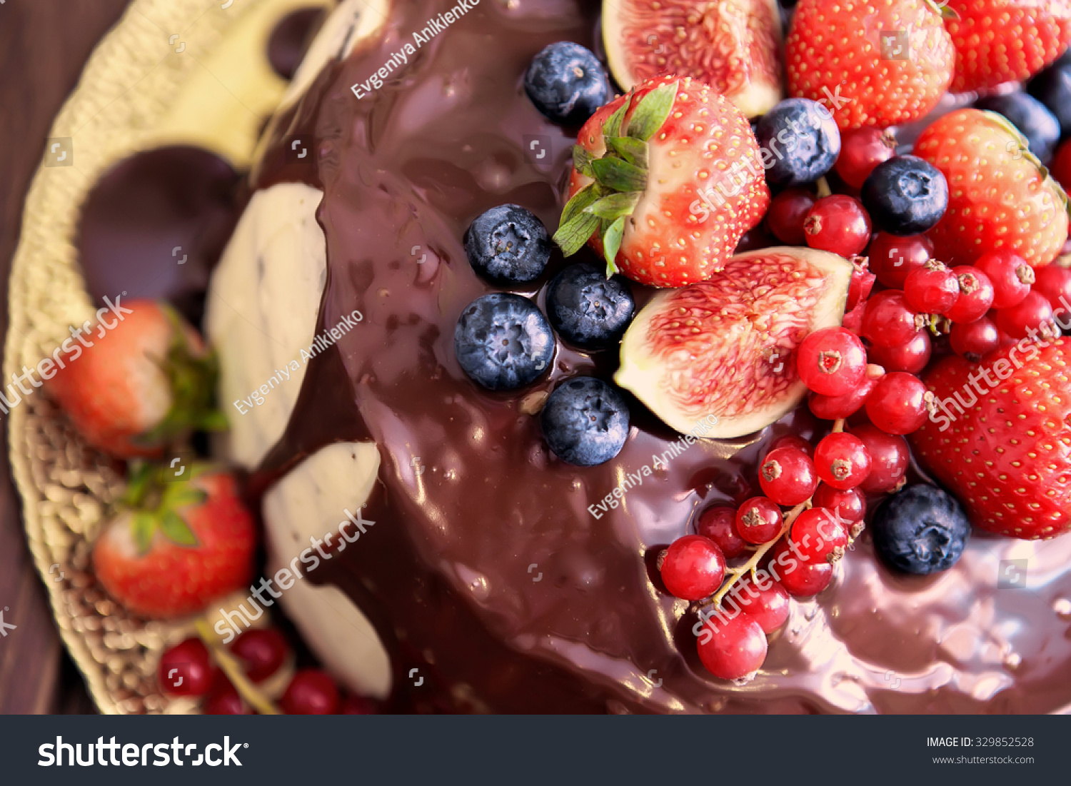 Birthday Cake Cream Chocolate Fresh Fruit Stock Photo Edit Now
