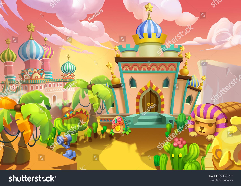 イラスト 砂漠の町 宮殿 王室の邸宅 リアルな漫画スタイルのシーン 壁紙 背景デザイン のイラスト素材