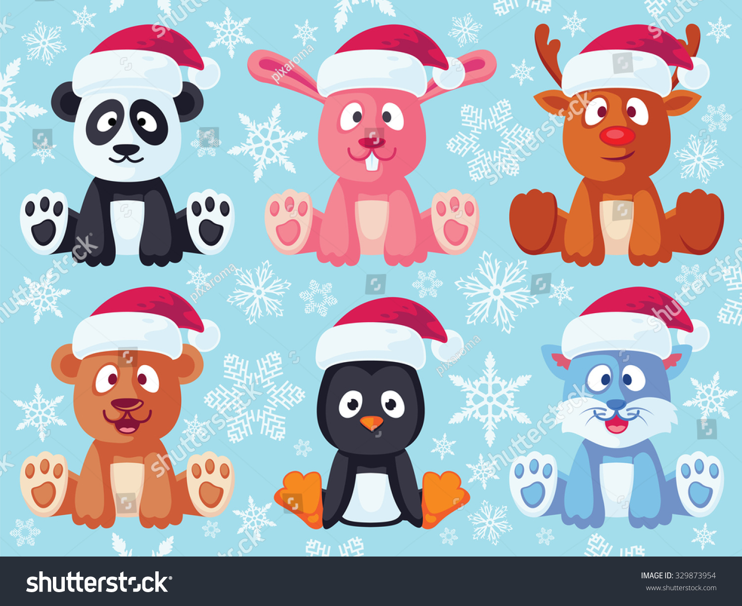 Christmas Flat Animals Set. Contain Cute Vector Baby