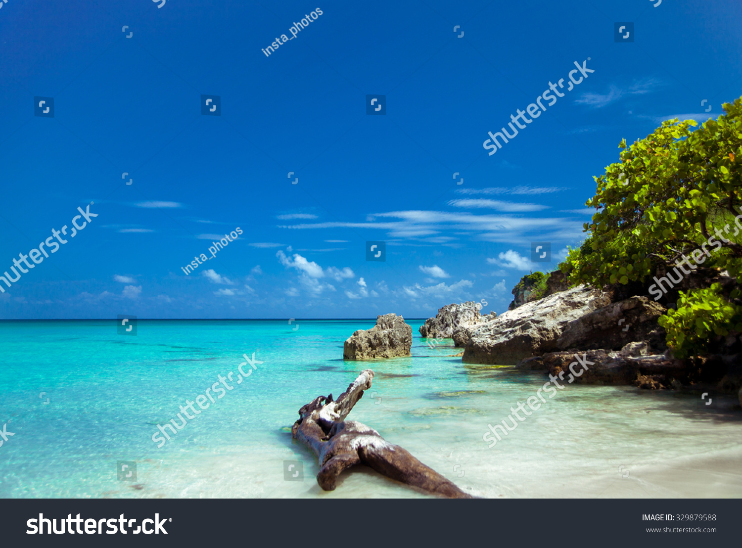 Caribbean island Beautiful uninhabited island in the Caribbean Sea The beautiful nature incredible scenery The sea breeze Tropical Island Paradise tropical beach with turquoise water