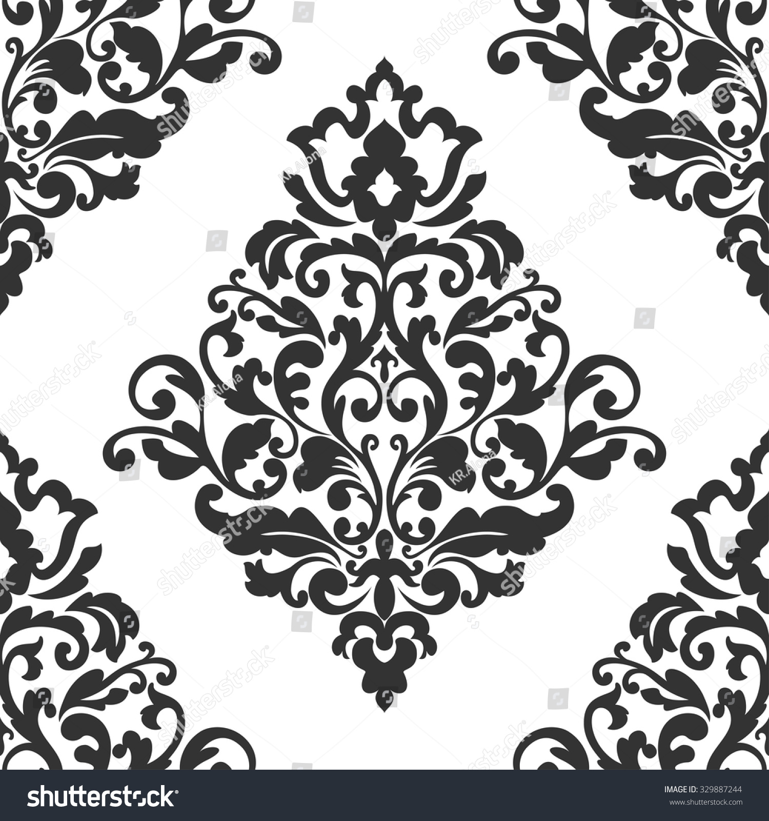 Elegant damask wallpaper black and white vintage pattern seamless classic vector background