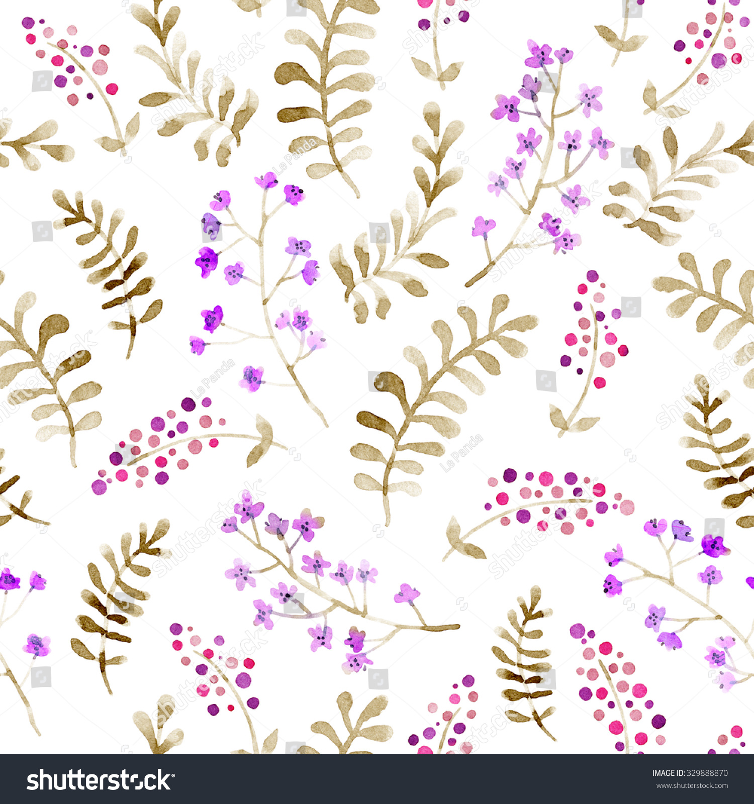 2015 Ditsy Floral Design: Cute Forest Repeating Pattern Ditsy Flowers Stock