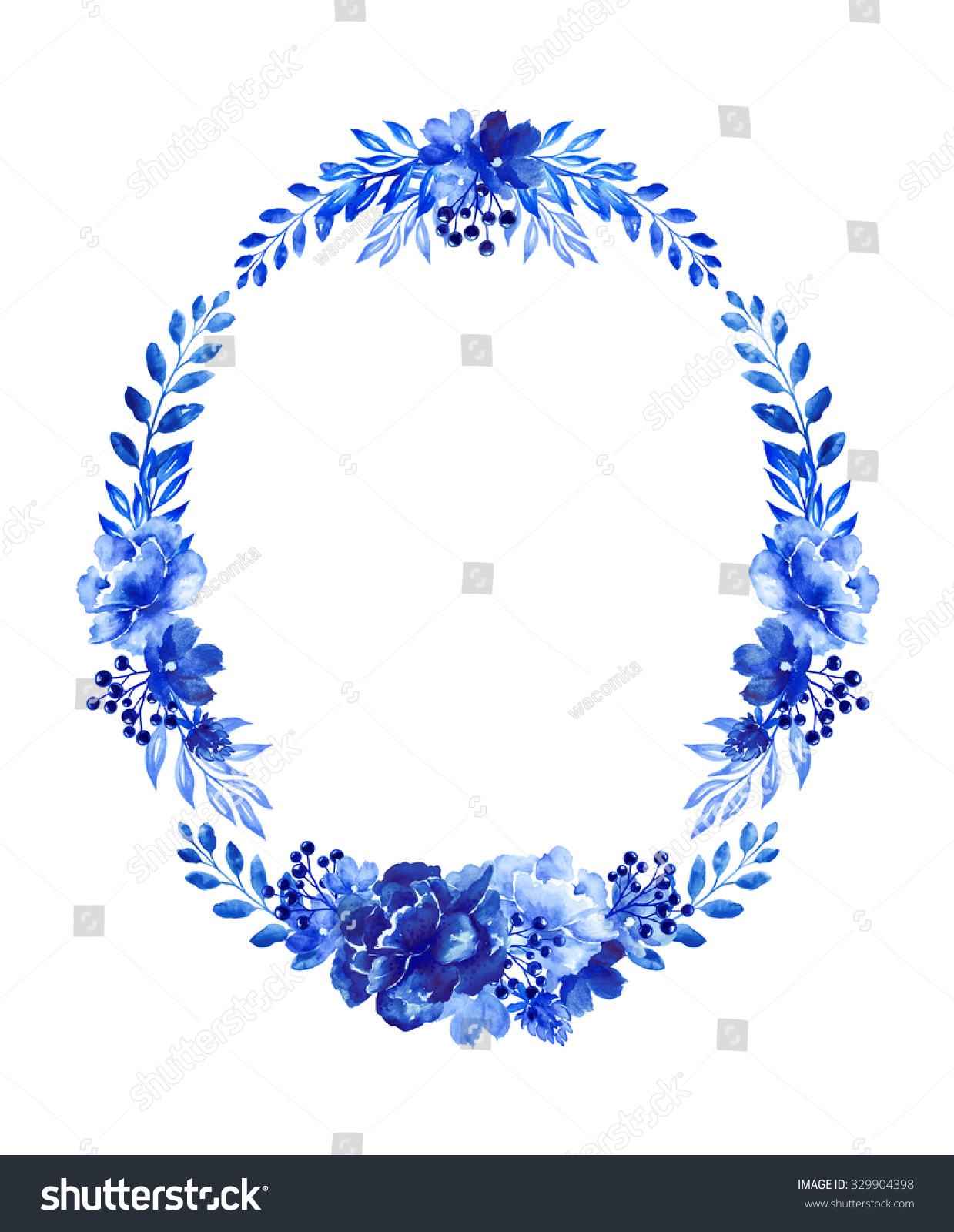 Oval cobalt blue floral wreath flower stock illustration 329904398 oval cobalt blue floral wreath flower arrangement decorative design elements watercolor illustration isolated izmirmasajfo
